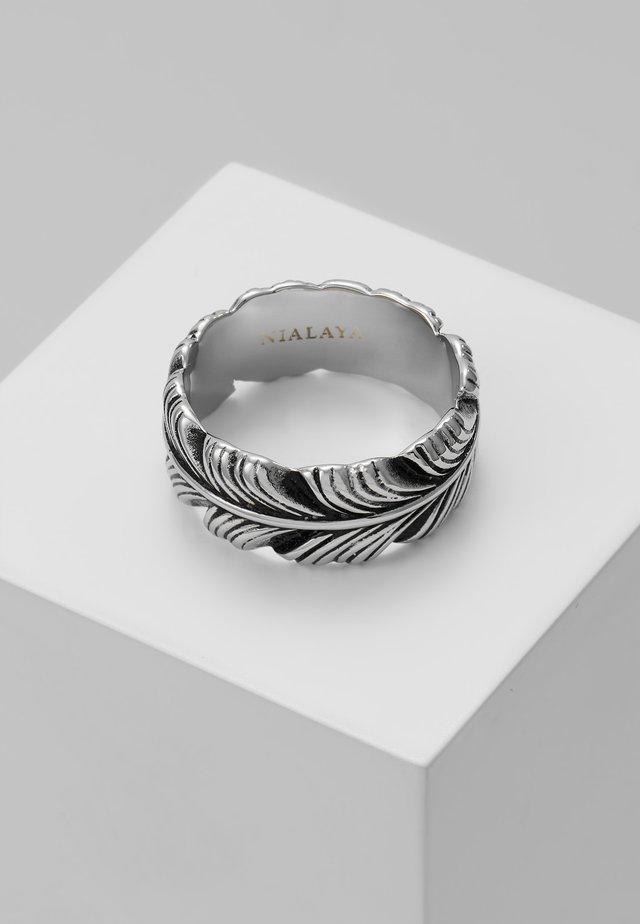 FEATHER WITH VINTAGE FINISH - Ringar - silver-coloured