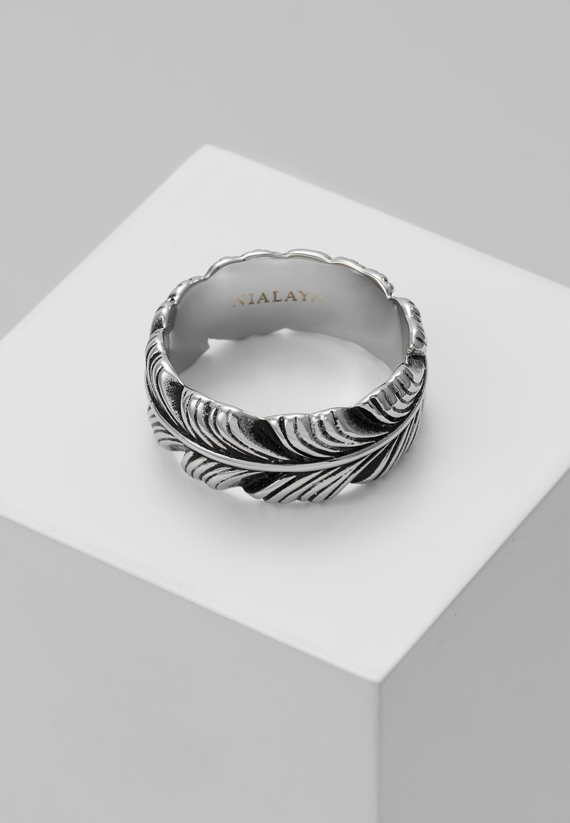 Nialaya - FEATHER WITH VINTAGE FINISH - Ring - silver-coloured