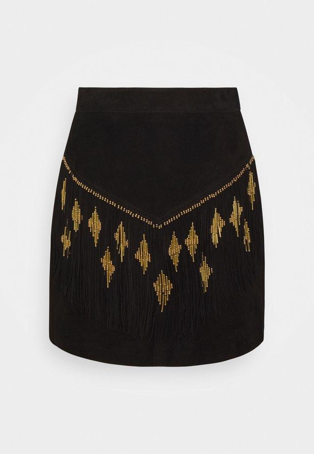 EMILIA SKIRT - Jupe en cuir - black