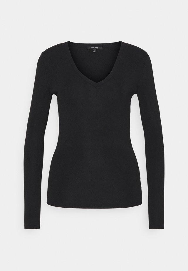 JOLIE VNECK - T-shirt à manches longues - black