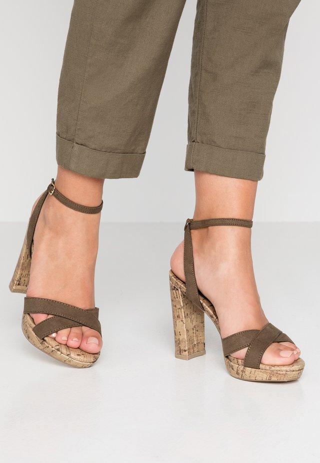 PORKS - Sandalen met hoge hak - dark khaki