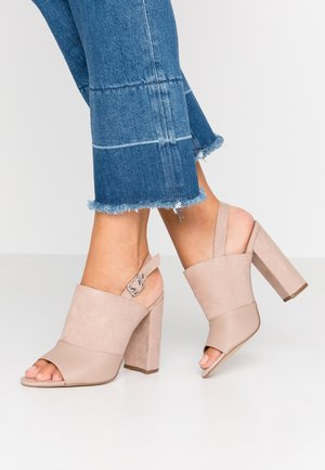Sandalen met hoge hak - oatmeal