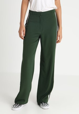 SIDE STRIPE FULL LENGTH WIDE LEG - Kalhoty - green