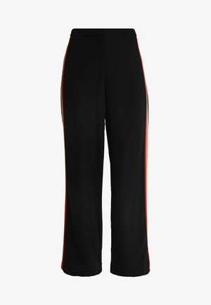 SIDE STRIPE FULL LENGTH WIDE LEG - Broek - black
