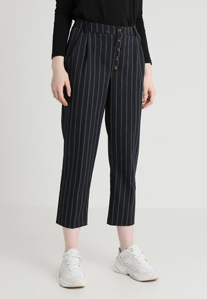 PINSTRIPE BUTTON FRONT TAPERED - Stoffhose - blue