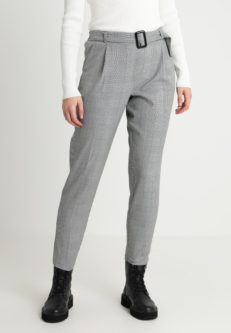 New Look - DOGTOOTH BUCKLE TROUSER - Trousers - black