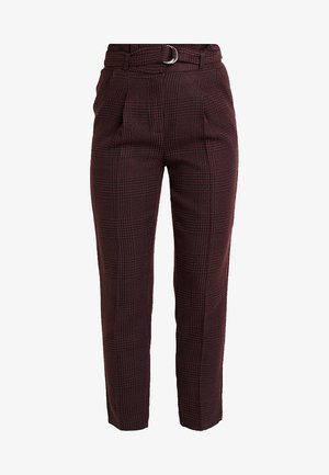 FLORENCE CHECK RING TROUSER - Trousers - burgundy