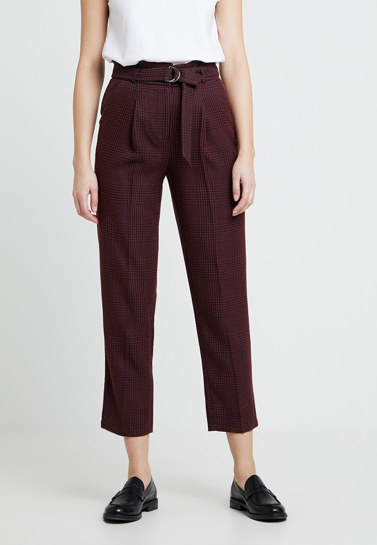 New Look - FLORENCE CHECK RING TROUSER - Broek - burgundy