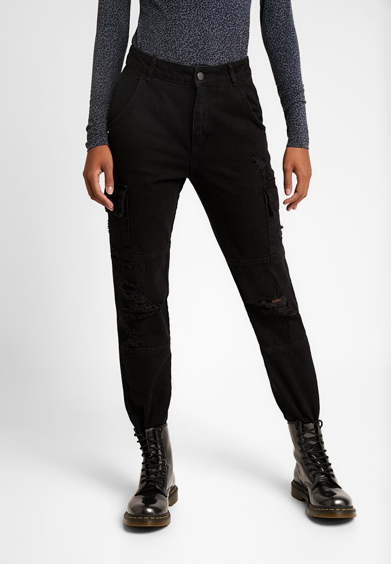 New Look - MALIBU CARGO DESTROYED - Jeans Tapered Fit - black