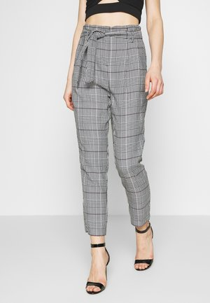 ROME CHECK PAPERBAG TROUSER - Chinos - cream
