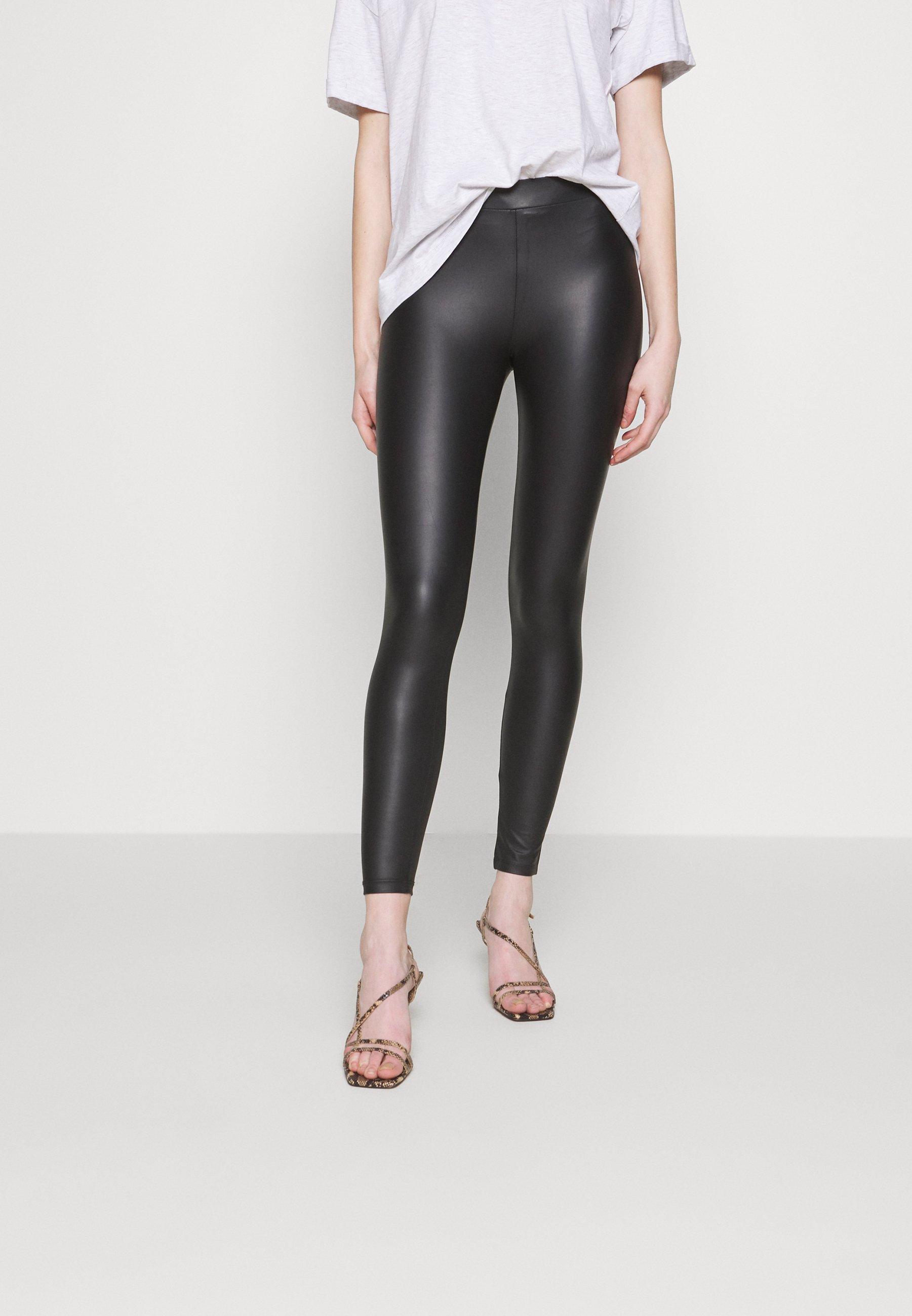 New Look WET LOOK  - Legginsy - black