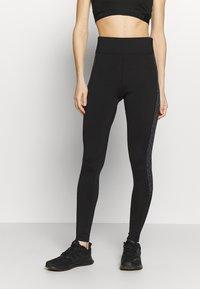 New Look - PRINT PANEL - Leggings - Trousers - black pattern - 0