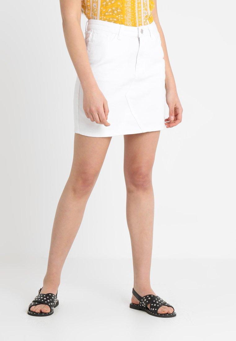 New Look - CUT OFF SKIRT  - Denimová sukně - white