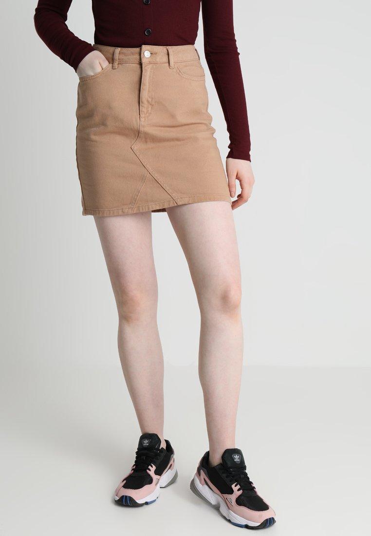New Look - CUT OFF SKIRT  - Denimová sukně - camel
