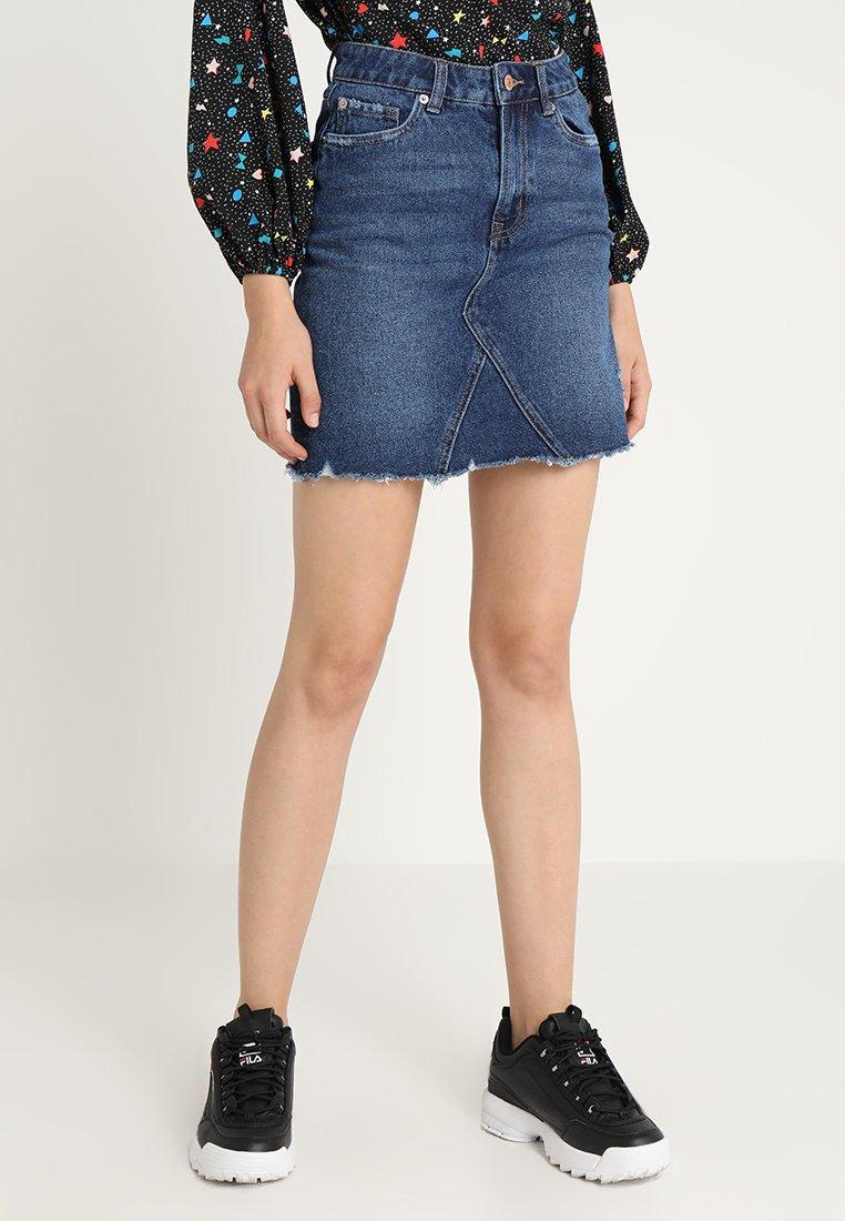 New Look - HARVEY CUT OFF SKIRT - A-line skirt - mid blue
