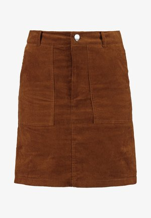 BUTTON FRONT SKIRT - Minihame - tan