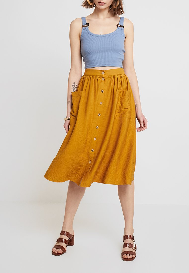 New Look - JANE MIDI SKIRT - Jupe trapèze - dark yellow