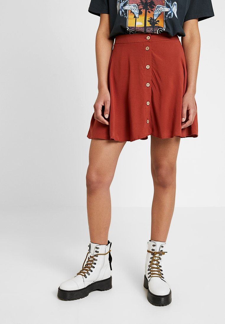 New Look - BUTTON FLIPPY MINI - A-line skirt - rust