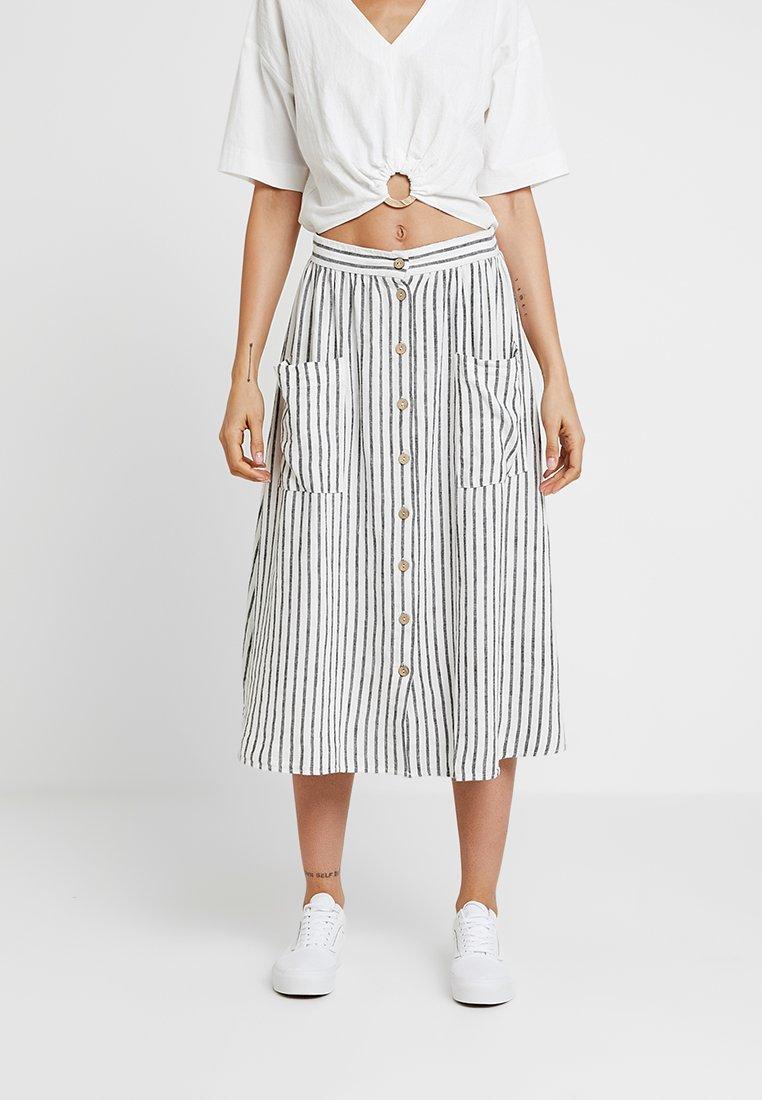 New Look - MARK STRIPE BUTTON THROUGH MIDI - A-line skirt - cream