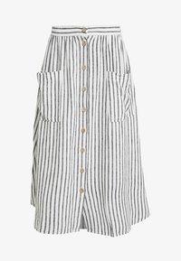 New Look - MARK STRIPE BUTTON THROUGH MIDI - A-line skirt - cream - 3