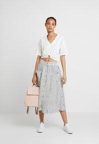 New Look - MARK STRIPE BUTTON THROUGH MIDI - A-line skirt - cream - 1