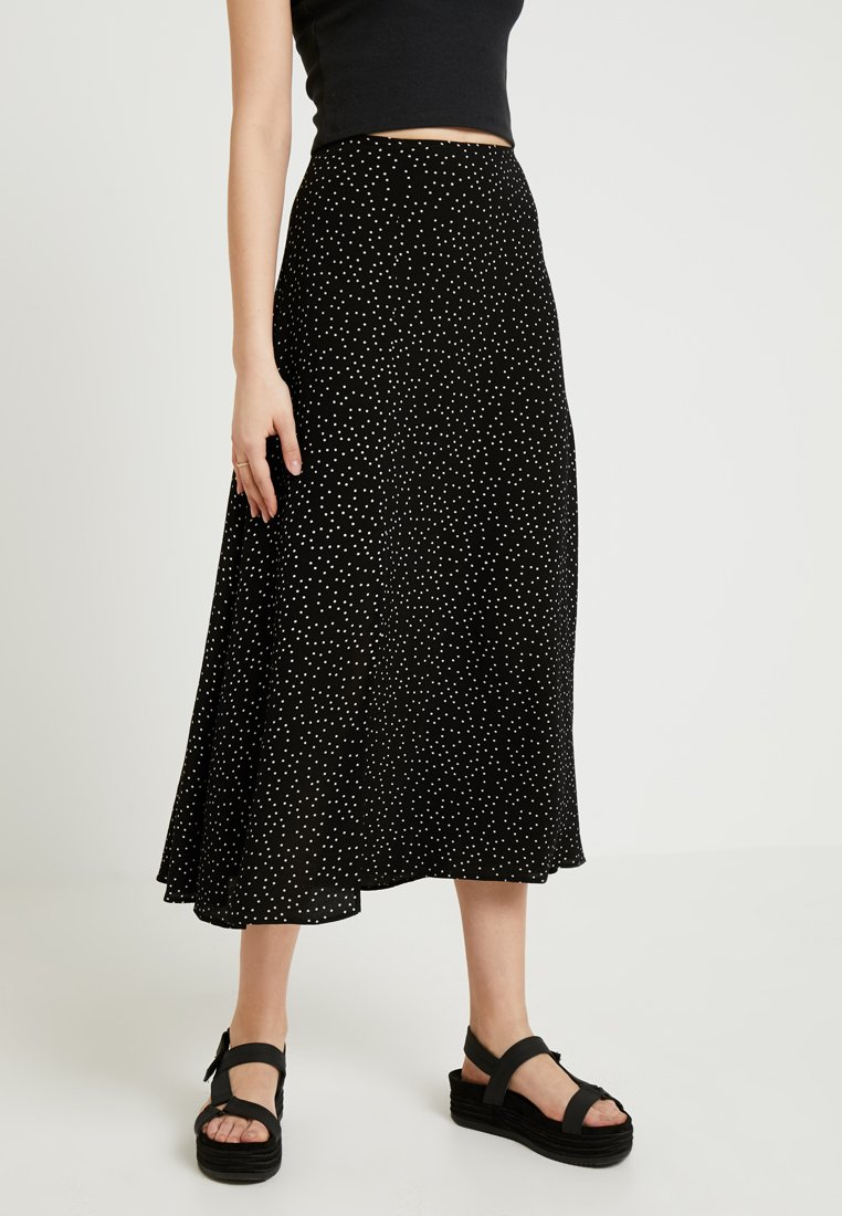 New Look - SPOT SPLIT SIDE SKIRT  - Maxi skirt - black