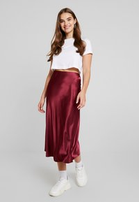 New Look - BIAS CUT MIDI SKIRT - Maxi skirt - burgundy - 1