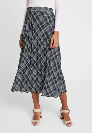LENNOX CHECK MIDI PLEAT SKIRT - Jupe plissée - black
