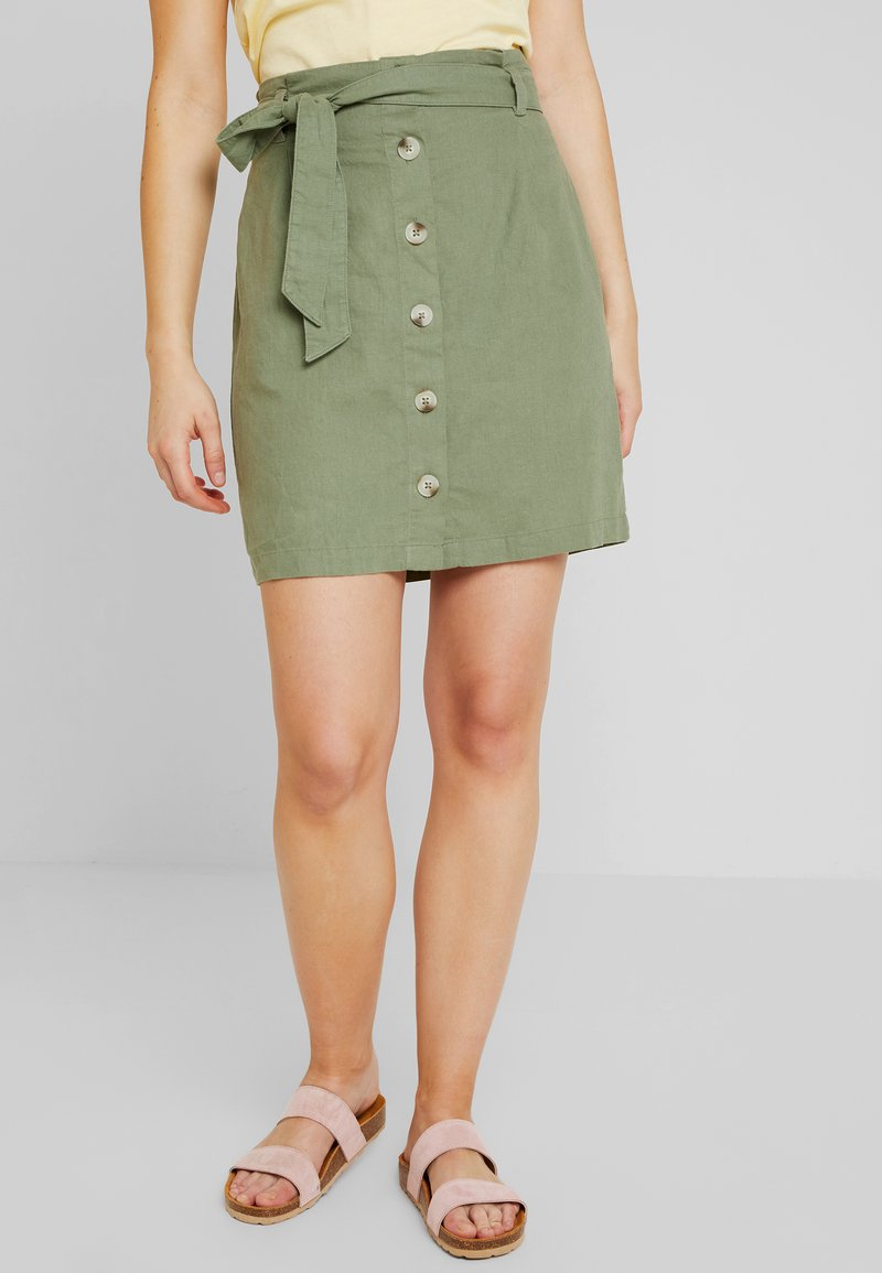 New Look - PAPERBAG MINI - A-line skirt - khaki