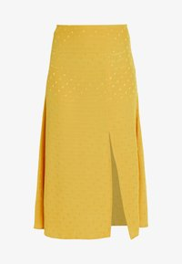 New Look - WATFORD JACQUARD SPLIT FRONT MIDI - Maxi skirt - dark yellow
