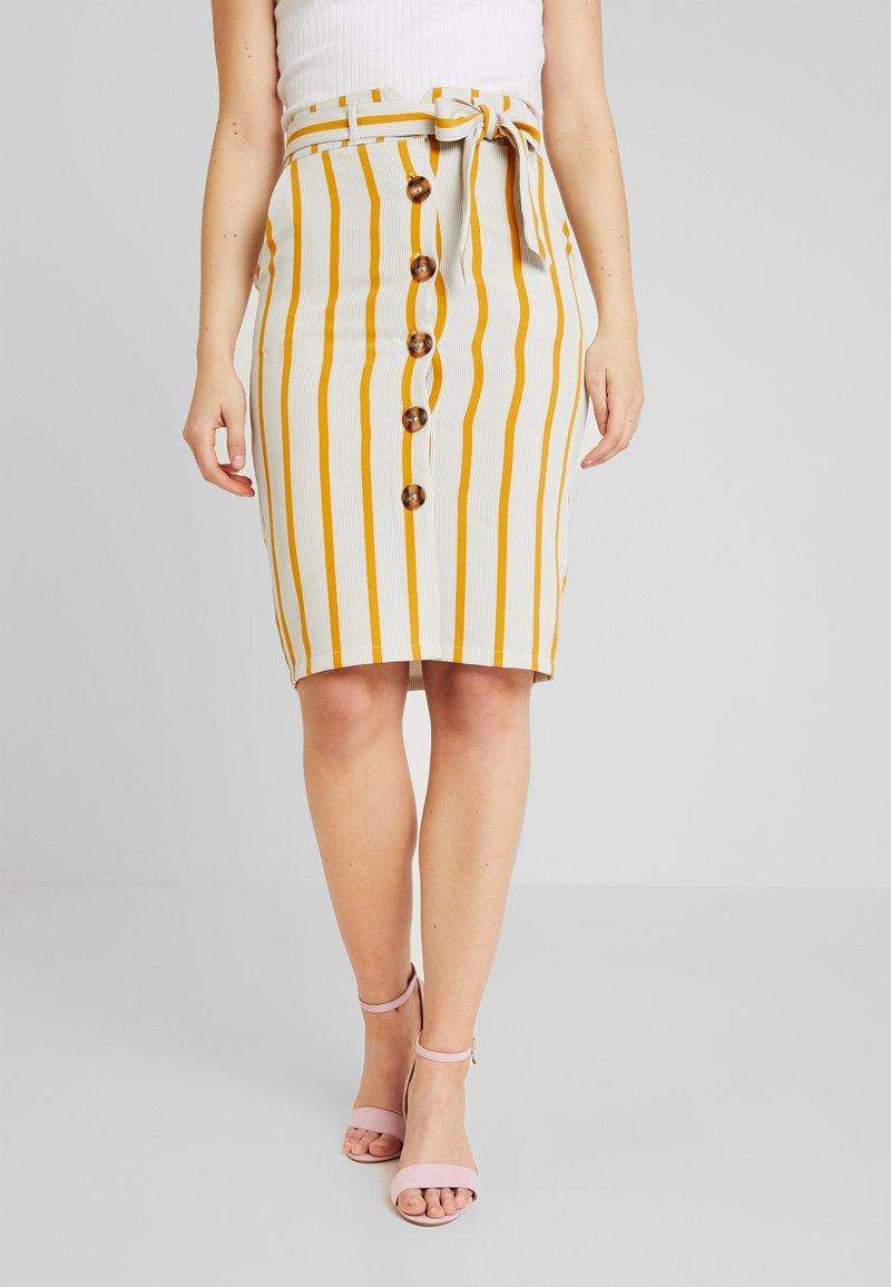 New Look - JAMIE BUTTON PENCIL SKIRT - Bleistiftrock - white pattern