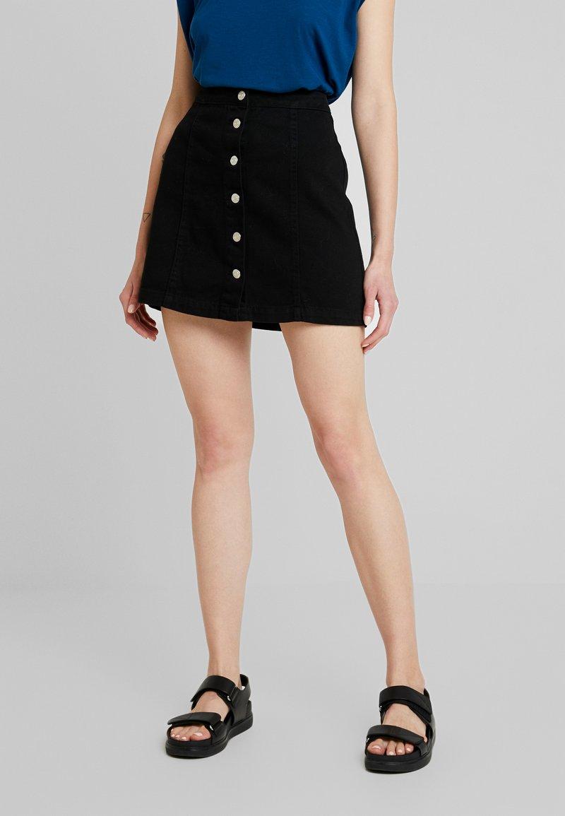New Look - BUTTON THRU A LINE SKIRT  - Spódnica trapezowa - black