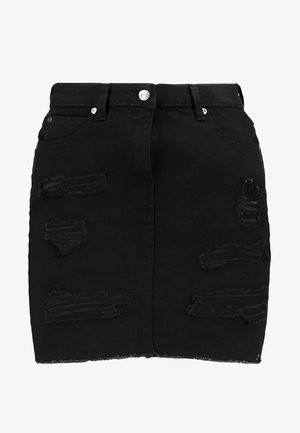 EXTREME RIPPED SKIRT - Gonna di jeans - black