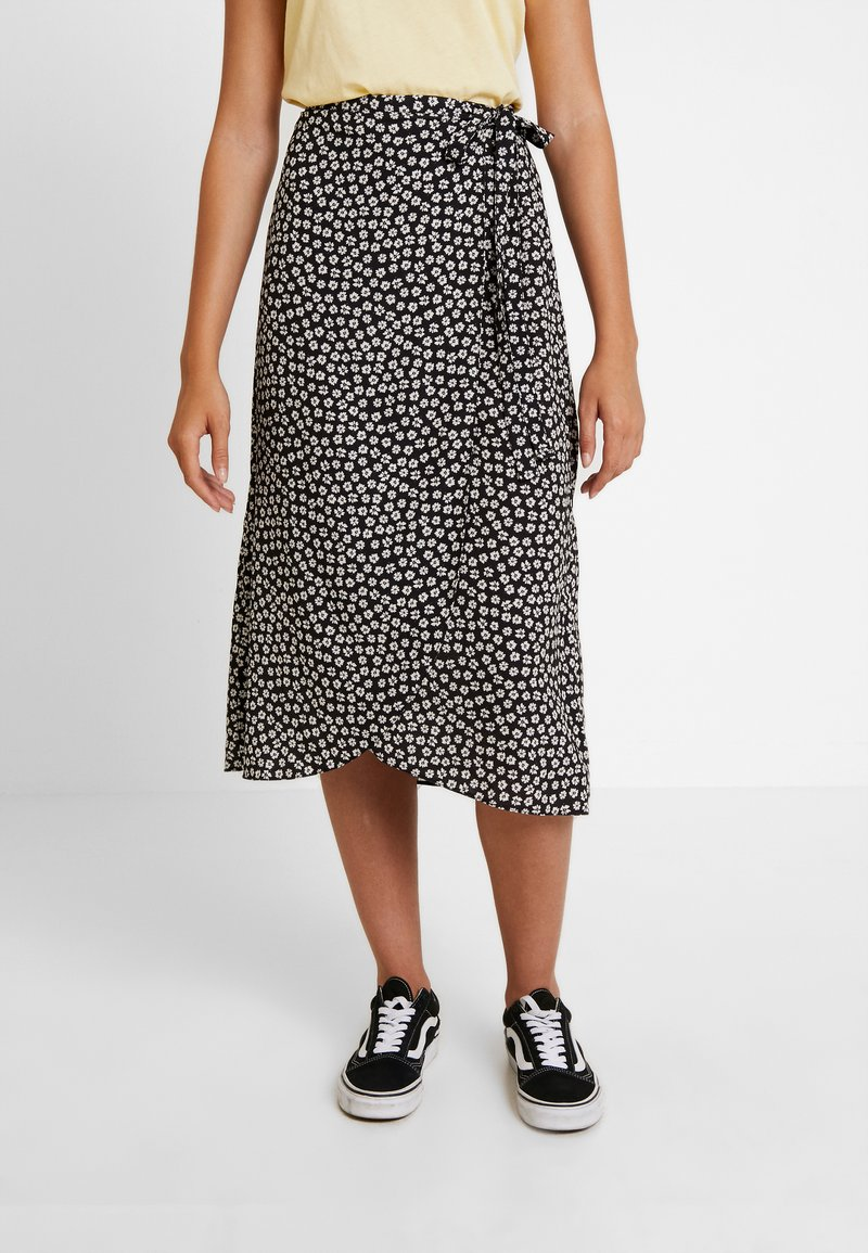 New Look - REBECCA BUBBLE WRAP MIDI - Falda cruzada - black