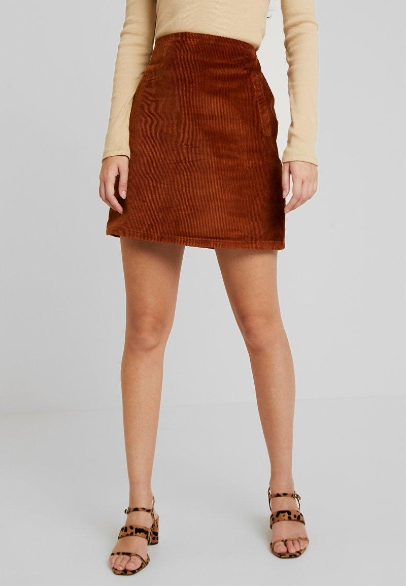 New Look - WELT SKIRT - Pencil skirt - chocolate