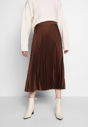 PLEATED MIDI - A-line skjørt - dark brown