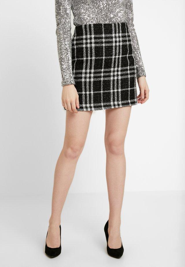 GRACIE GLITTER CHECK - Mini skirt - black
