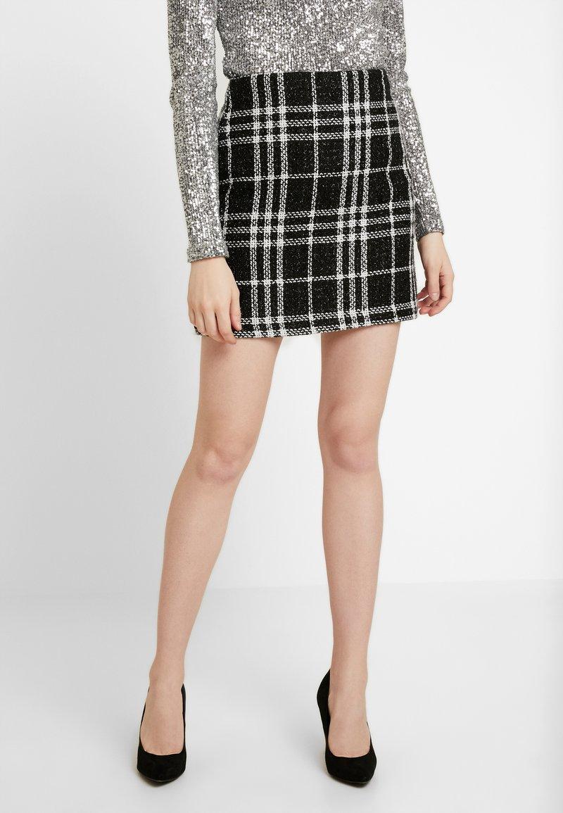 New Look - GRACIE GLITTER CHECK - Minisukně - black