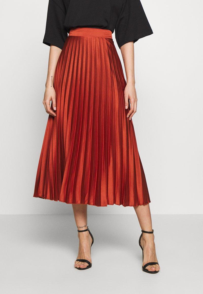 New Look - PLEATEDMIDI - A-line skirt - rust