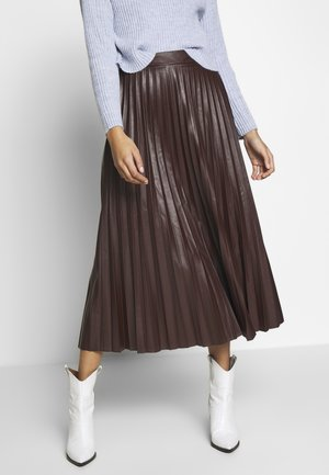 PLEATED MIDI - A-line skjørt - dark burgundy