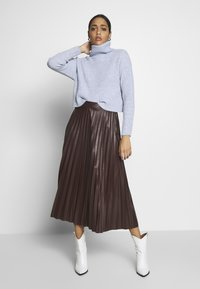New Look - PLEATED MIDI - A-lijn rok - dark burgundy