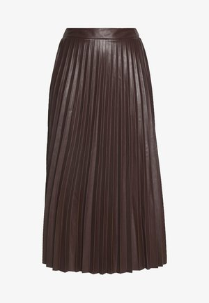 PLEATED MIDI - A-line skirt - dark burgundy