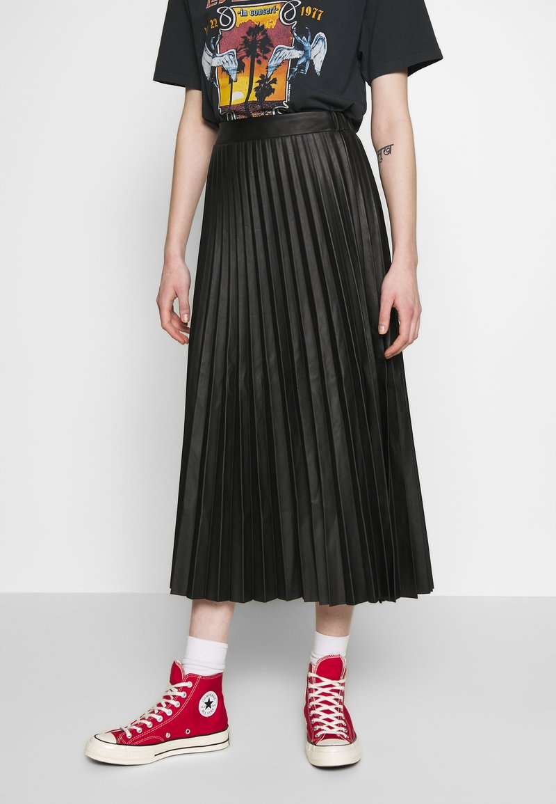 New Look - PLEATED MIDI - Jupe trapèze - black