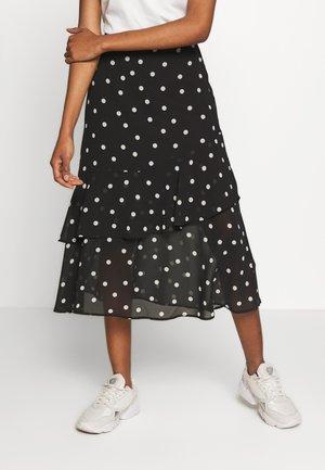 SPOT FRILL MIDI - A-line skirt - black