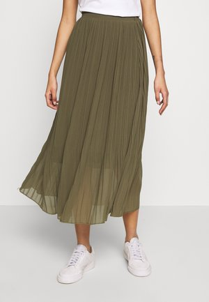 PLEATED - A-line skirt - khaki