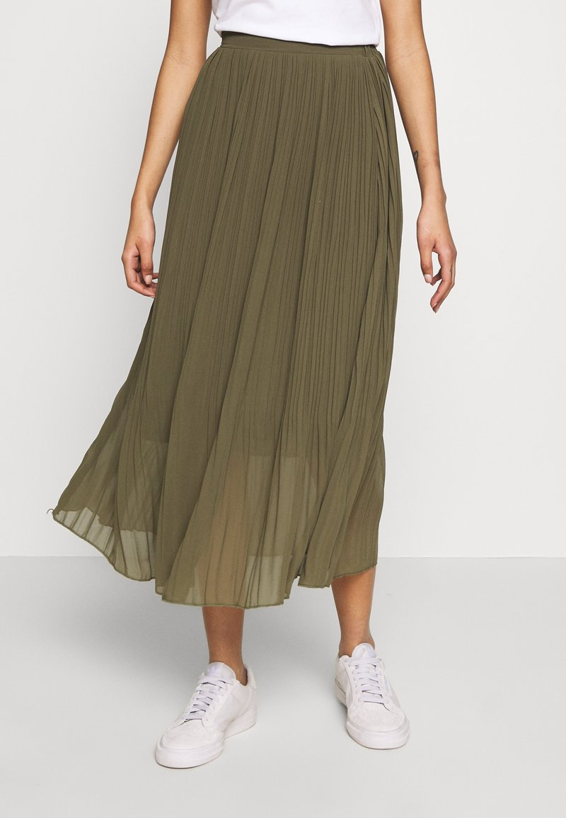 New Look - PLEATED - Jupe trapèze - khaki