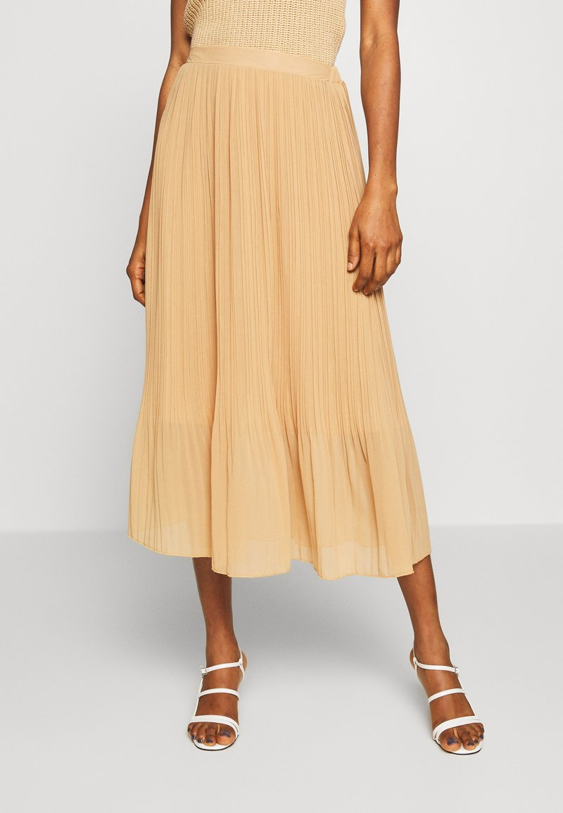 New Look - PLEATED - A-line skirt - beige