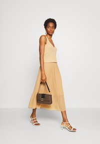 New Look - PLEATED - A-line skirt - beige - 1