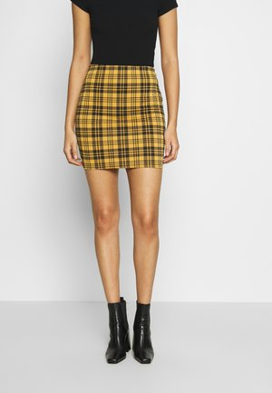 AMARI CHECK TUBE - Mini skirt - yellow