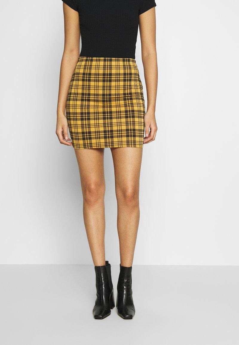 New Look - AMARI CHECK TUBE - Mini skirt - yellow